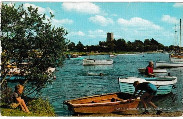 Postcard Dorset Christchurch Priory from Wick