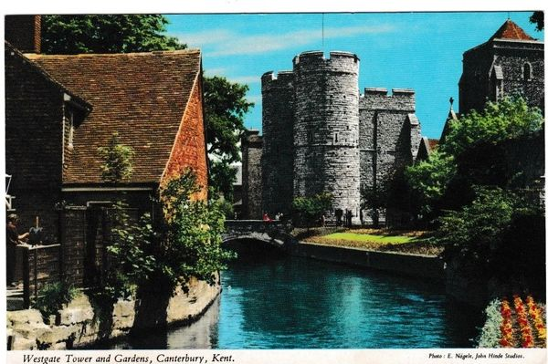 Postcard Kent Canterbury Westgate Tower and Gardens