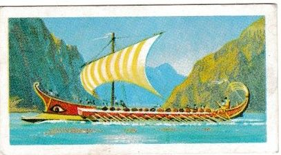 Trade Card Brooke Bond Transport Through the Ages No 10 Galley