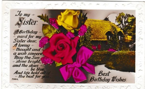 Post Card Greetings - Best Birthday Wishes to My Sister