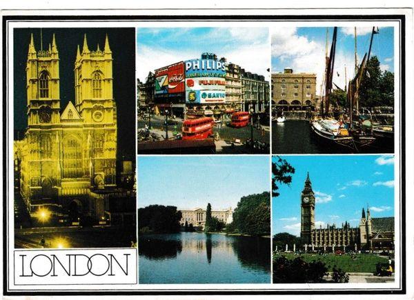 postcard London GREETINGS FROM LONDON 5 views John Hinde 1L32 posted 1980