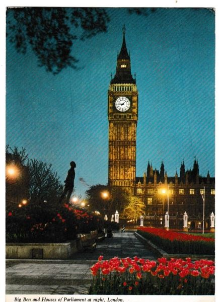 Postcard London Big Ben and Houses of Parliament at Night