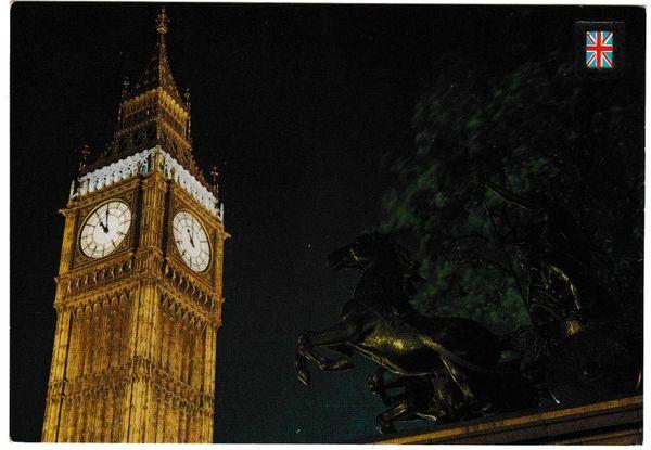 Postcard London Big Ben and Boadicea Statue by Night