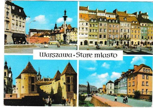 Postcard Poland Warsaw = Warsawa Stare Miasto 4 views