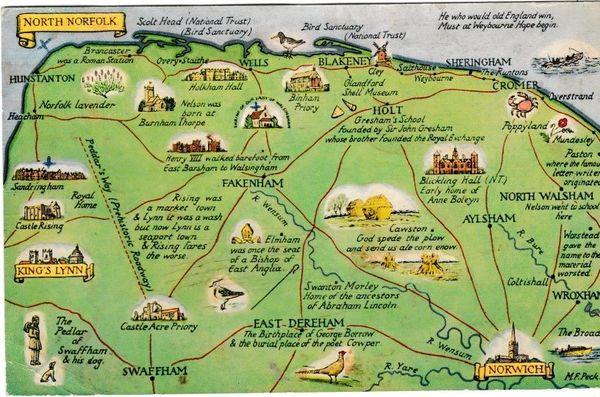 Postcard Illustrated Map NORTH NORFOLK J Salmon