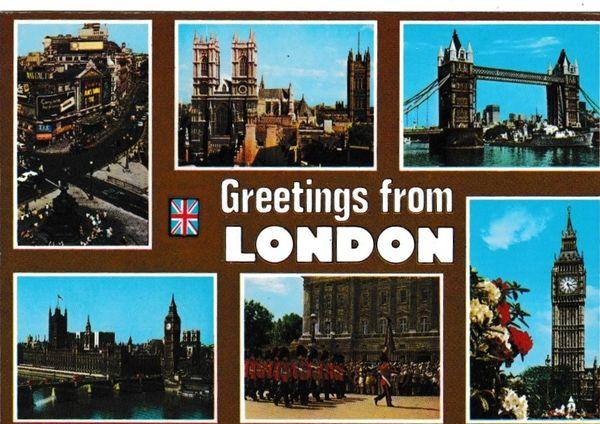 Postcard London Greetings from London 6 views