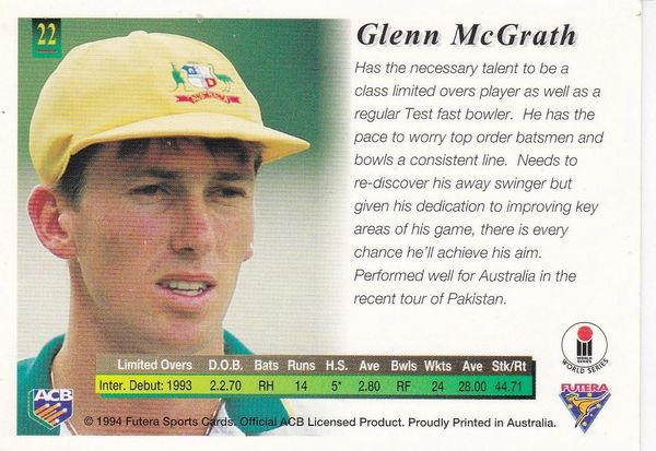 Futera Sports Card : cricketer - Glenn McGrath