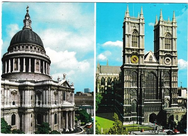 Postcard London St. Paul's and Westminster Abbey