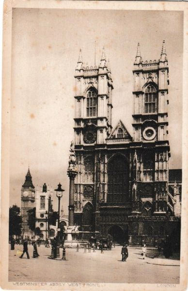Postcard London Westminster Abbey West Front