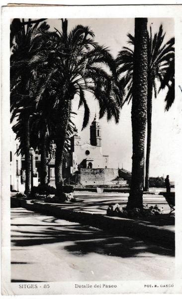 Postcard Spain Costa Brava SITGES Detaile dei Paseo