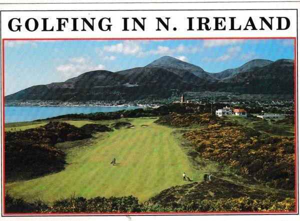 Postcard Advertising N. Ireland Golfing