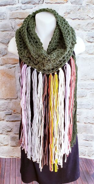 Olive Green Cowl Dreamcatcher Scarf