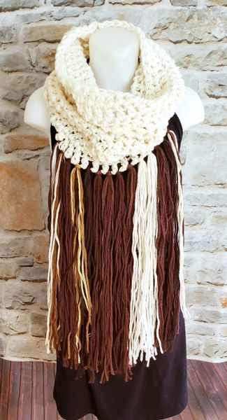 Off White and Brown Cowl Dreamcatcher Scarf