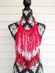 Red and White Fringe Necklace