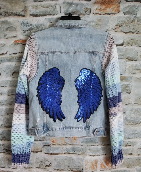 Upcycled Jean Jacket with Angel Wings