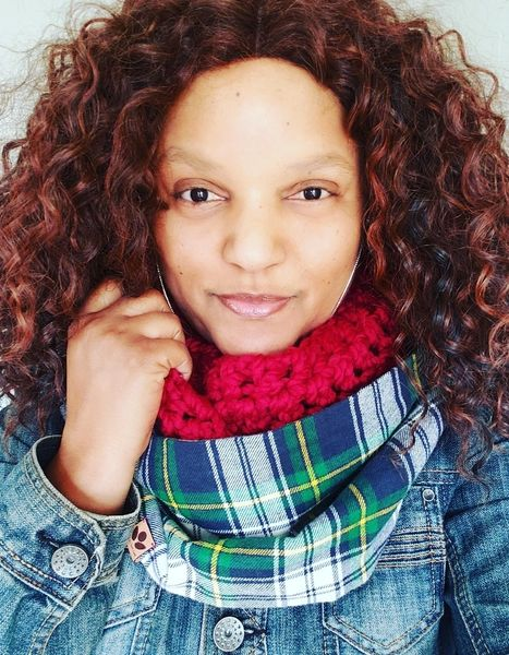 Green and Blue Tartan and Crochet Infinity, Plaid Scarf