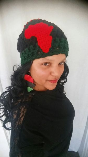 RBG Beanie with Africa Applique