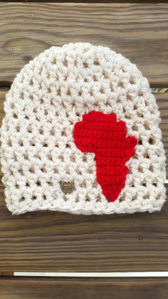 Solid Beanie with Africa Applique