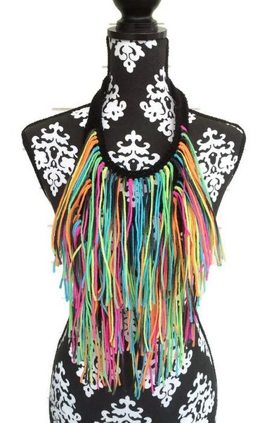 Black Base Neon Fringe Necklace