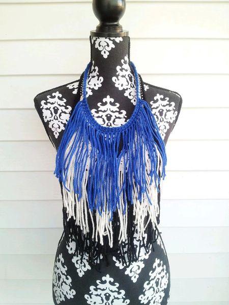 Royal Blue Fringe Necklace