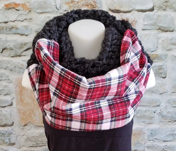Red and White Plaid with Grey Contrast