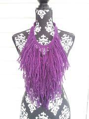 Purple Fringe Necklace