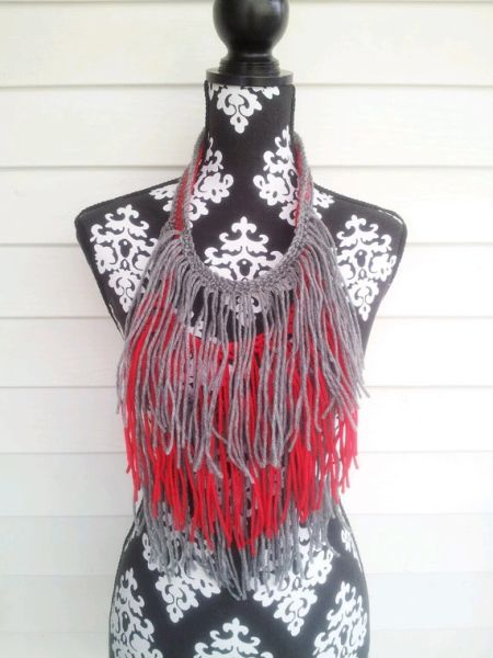 Grey and Red Fringe Necklace