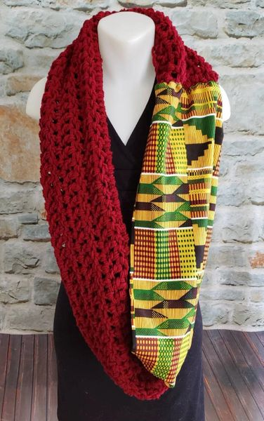 Red Kente Infinity Scarf