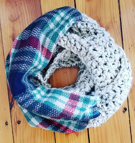 Green and Wheat Plaid Infinity Scarf