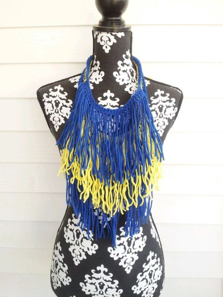Blue and Yellow Fringe Necklace