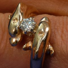Gold Dolphin Ring - 14Karat With Added .50 Diamond