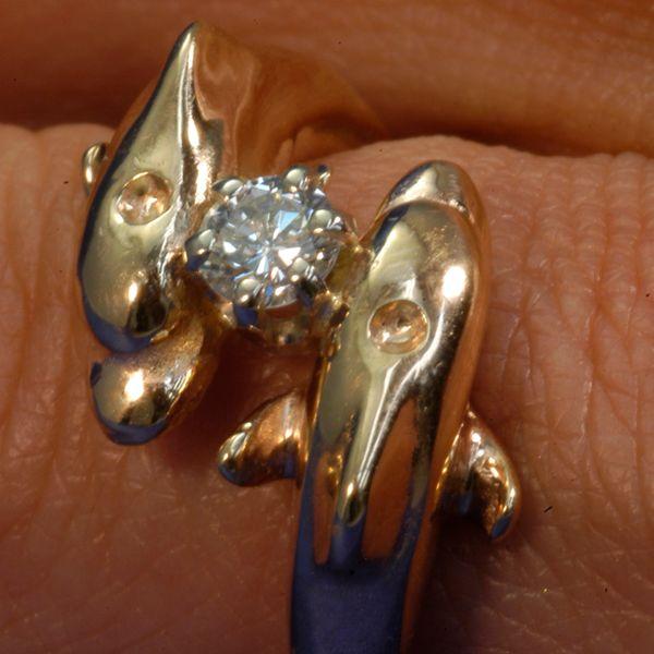 Gold Dolphin Ring - 14Karat With Added .50 Diamond
