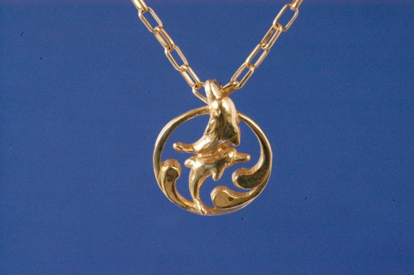 14K Gold Dancing Dolphin Pendant - Small Size