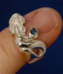 Mermaid Ring with Blue Stone, in Sterling Silver