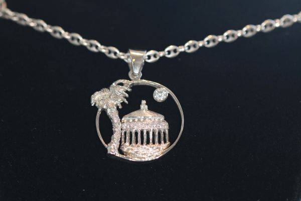 Sterling Silver Casino and Palm Pendant - Large