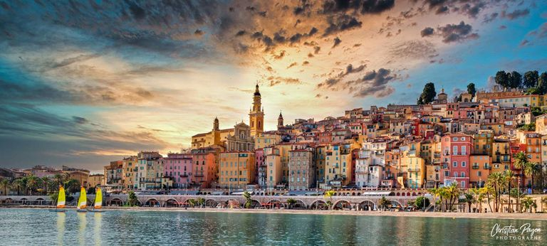 Menton Old town, view from the ocean.