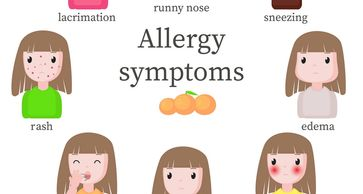 Symptoms of allergy include itchy eyes, runny nose, sneezing, nasal congestion, cough, sinus problem