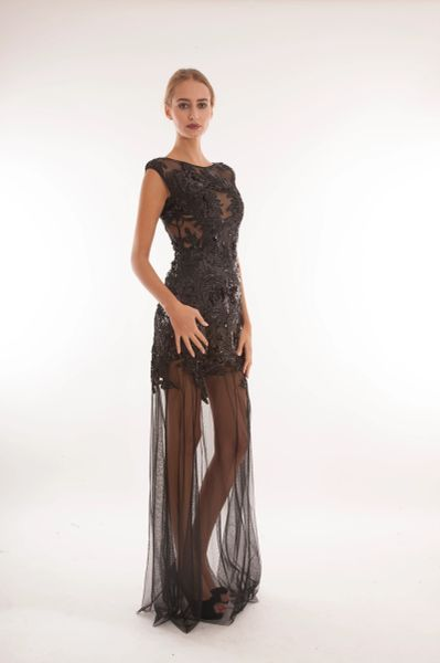 Sequin embellished sheer dress with mesh