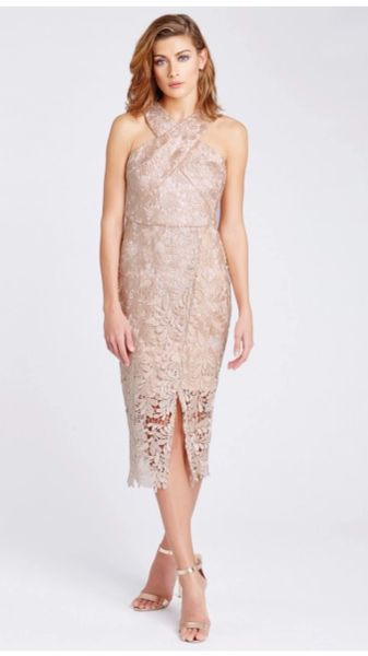 Cross Front Lace Midi Dress in Nude