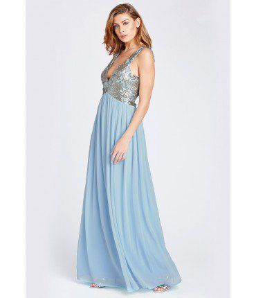 Plunge Neck Sequin Embellished Maxi Dress