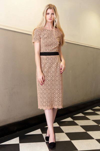 Lace shift midi dress