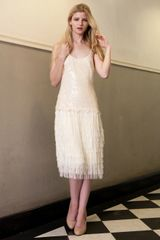 Nude Sequin Embellish& Fringe Flapper Dress