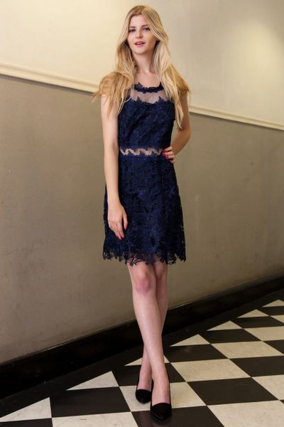 Navy Crossover Back A-Line Lace Dress