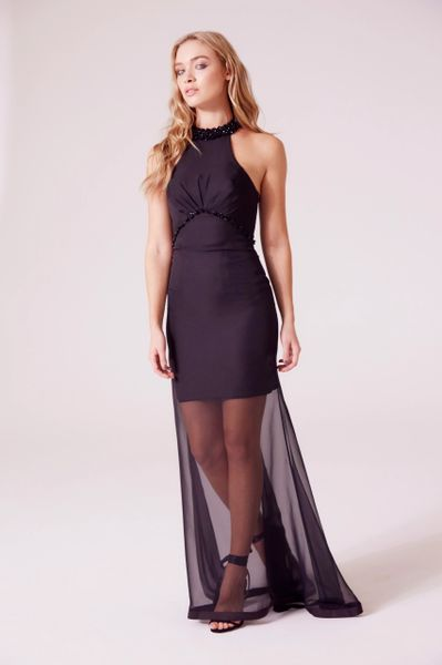 D.anna Beading High-low Hem Dress in Black