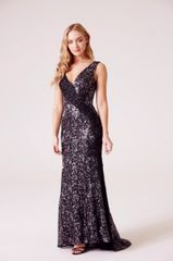 Hand beaded and sequin embellished V neck contrast lace fishtail maxi dress