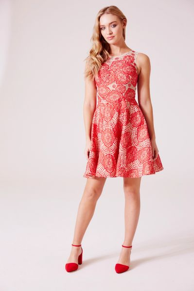 Hand beaded crocket red lace prom dress