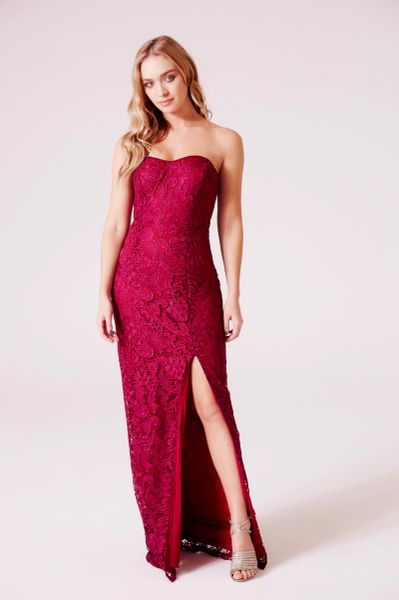 D.Anna Sweetheart Lace Maxi Dress in Wine