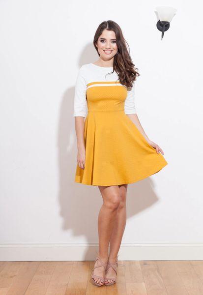Contrast colour polka dot printed skater dress