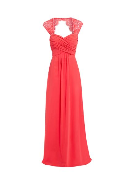 D.Anna Sweetheart Maxi Dress with Lace Shoulder Detail in Coral