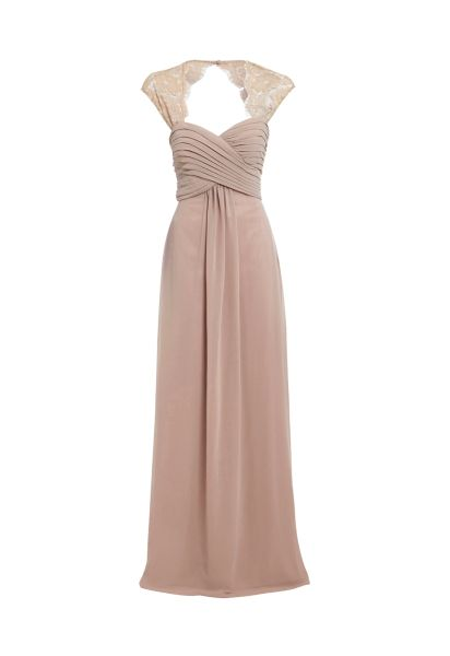 D.Anna Sweetheart Maxi Dress with Lace Shoulder Detail in Nude